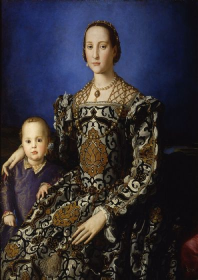 Bronzino, Agnolo: Portrait of Eleonora of Toledo with Her Son, Giovanni de Medici. Fine Art Print/Poster. Sizes: A4/A3/A2/A1 (001982)